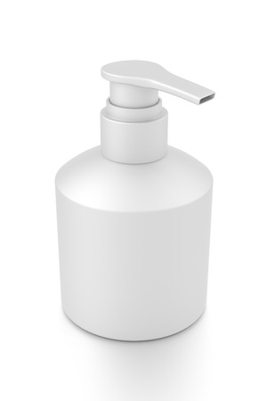 White cosmetic bottle dispenser pump with tube container from top angle. 3D illustration isolated on white background.