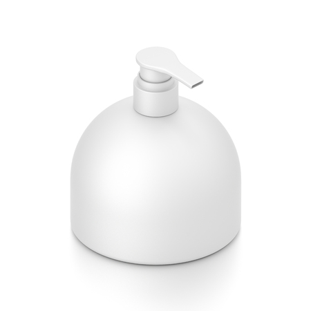 White cosmetic bottle dispenser pump with round container from isometric angle. 3D illustration isolated on white background. Фото со стока