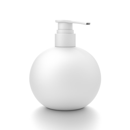 White cosmetic bottle dispenser pump with round container from side angle. 3D illustration isolated on white background.