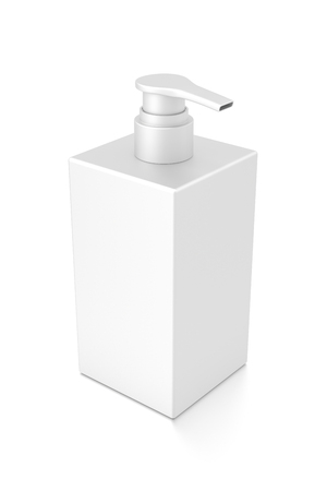 White cosmetic bottle dispenser pump with rectangle container from top angle. 3D illustration isolated on white background. Stock Photo