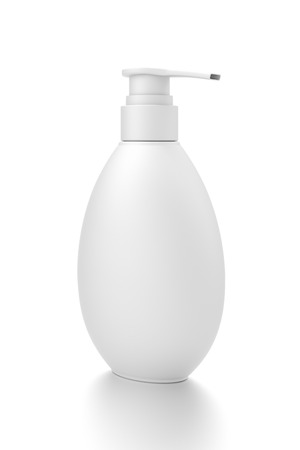 White cosmetic bottle dispenser pump with oval container from side angle. 3D illustration isolated on white background.