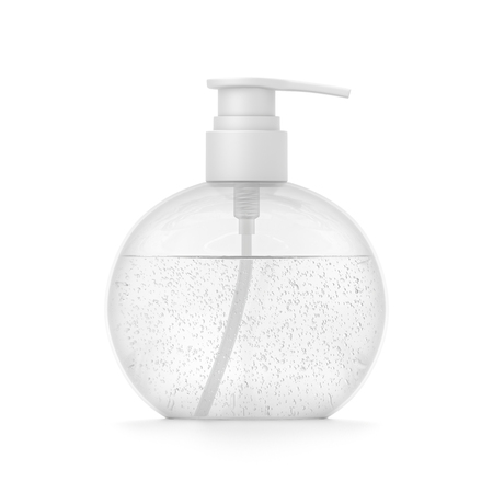 White cosmetic bottle dispenser pump with round transparent bubble liquid filled container from front angle. 3D illustration isolated on white background. 版權商用圖片