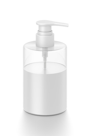 White cosmetic bottle dispenser pump with tube transparent white liquid filled container from front top angle. 3D illustration isolated on white background.