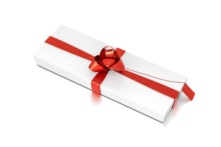 White gift box with red ribbon bow tie from top side closeup angle. Thin, wide, horizontal, rectangle and medium size. 3D illustration isolated on white background. Stock Photo