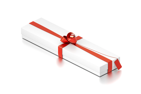 White gift box with red ribbon bow tie from isometric angle. Wide, horizontal, long, rectangle and large size. 3D illustration isolated on white background.