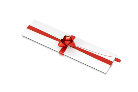 White gift box with red ribbon bow tie from top side closeup angle. Thin, slim, wide, horizontal, long, rectangle and large size. 3D illustration isolated on white background.