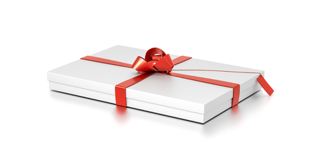 White gift box with red ribbon bow tie from top side angle. Thin, wide, horizontal, rectangle and medium size. 3D illustration isolated on white background. Stock Photo