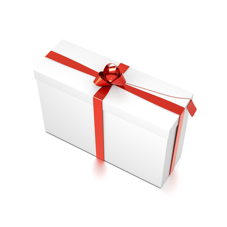 White gift box with red ribbon bow tie from top side closeup angle. Tall, wide, horizontal, rectangle and medium size. 3D illustration isolated on white background. Stock Photo