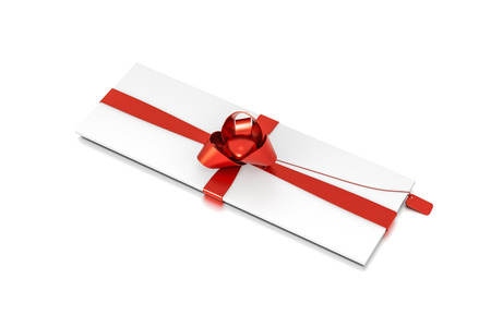 White gift box with red ribbon bow tie from top side closeup angle. Thin, slim, wide, horizontal, long, rectangle and medium size. 3D illustration isolated on white background.