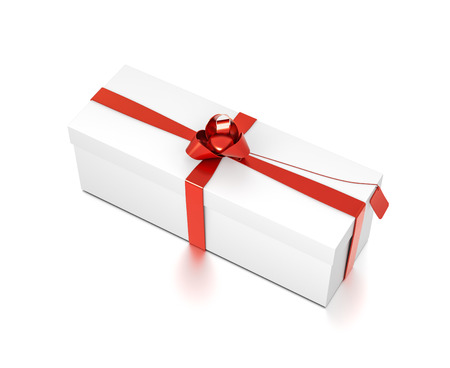 White gift box with red ribbon bow tie from top side closeup angle. Wide, horizontal, rectangle and medium size. 3D illustration isolated on white background. Stock Photo