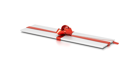 White gift box with red ribbon bow tie from top side angle. Thin, slim, wide, horizontal, long, rectangle and large size. 3D illustration isolated on white background.