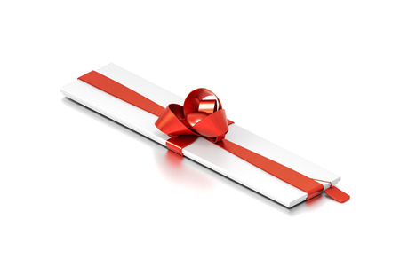 narrow: White gift box with red ribbon bow tie from isometric angle. Thin, slim, wide, narrow, horizontal, long, rectangle and medium size. 3D illustration isolated on white background. Stock Photo
