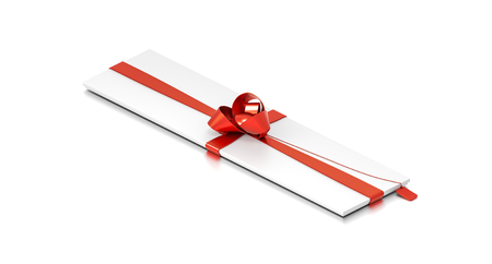 White gift box with red ribbon bow tie from isometric angle. Thin, slim, wide, horizontal, long, rectangle and large size. 3D illustration isolated on white background.
