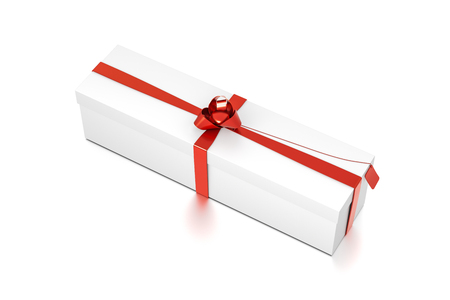 White gift box with red ribbon bow tie from top side closeup angle. Wide, horizontal, long, rectangle and large size. 3D illustration isolated on white background.