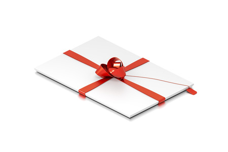 White gift box with red ribbon bow tie from isometric angle. Thin, slim, wide, horizontal, long, rectangle and medium size. 3D illustration isolated on white background.