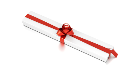 White gift box with red ribbon bow tie from top side closeup angle. Thin, wide, horizontal, long, rectangle and large size. 3D illustration isolated on white background.