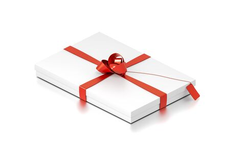 White gift box with red ribbon bow tie from isometric angle. Thin, horizontal, square and medium size. 3D illustration isolated on white background. Reklamní fotografie