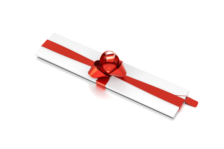 White gift box with red ribbon bow tie from top side closeup angle. Thin, slim, wide, narrow, horizontal, long, rectangle and medium size. 3D illustration isolated on white background.