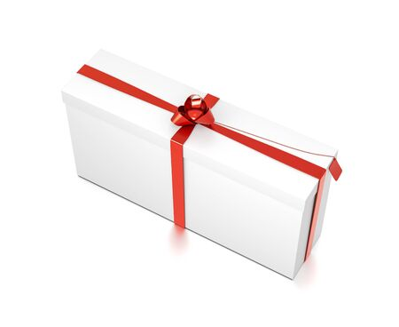 White gift box with red ribbon bow tie from top side closeup angle. Tall, wide, horizontal, long, rectangle and large size. 3D illustration isolated on white background.