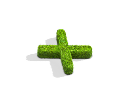 Grass letter X in lowercase format from isometric angle with shadow on ground. 3D illustration isolated on white background.