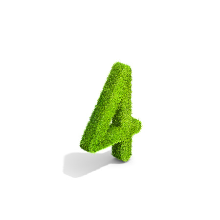 greenery: Grass number 4 from isometric angle with shadow on ground. 3D illustration isolated on white background.