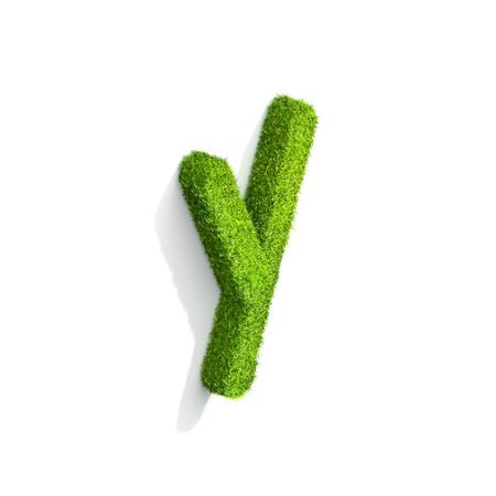 Grass letter Y in lowercase format from isometric angle with shadow on ground. 3D illustration isolated on white background. Stock Photo