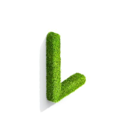 Grass letter L in uppercase format from isometric angle with shadow on ground. 3D illustration isolated on white background.