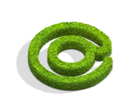 symbol. punctuation: Grass email punctuation mark from isometric angle with shadow on ground. 3D illustration isolated on white background. Stock Photo
