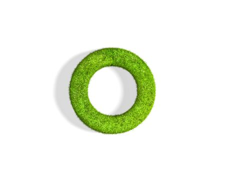 Grass letter O in lowercase format from isometric angle with shadow on ground. 3D illustration isolated on white background.