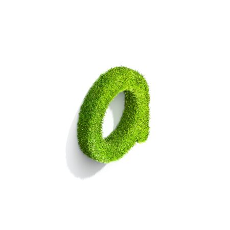 Grass letter A in lowercase format from top angle with shadow on ground. 3D illustration isolated on white background.
