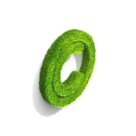 symbol. punctuation: Grass copyright punctuation mark from isometric angle with shadow on wall, upright position. 3D illustration isolated on white background.