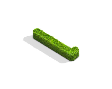 Grass letter L in lowercase format from isometric angle with shadow on ground. 3D illustration isolated on white background.