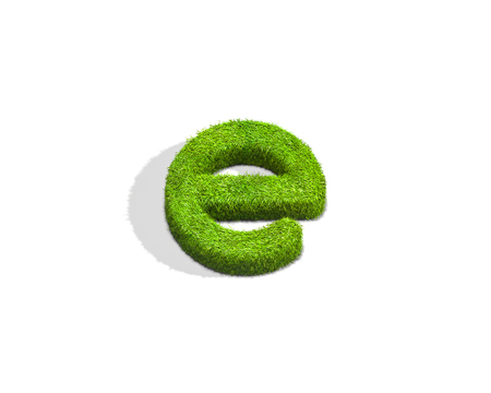 Grass letter E in lowercase format from top angle with shadow on ground. 3D illustration isolated on white background.