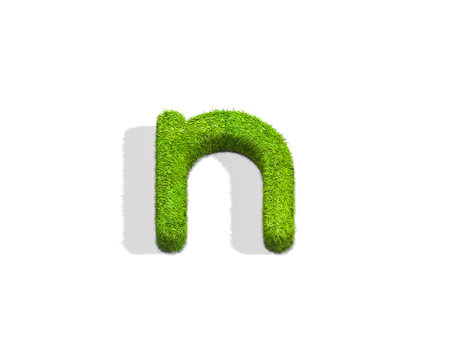 Grass letter N in lowercase format from top angle with shadow on ground. 3D illustration isolated on white background.