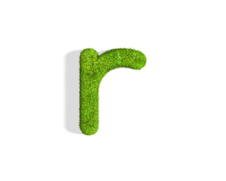 Grass letter R in lowercase format from isometric angle with shadow on ground. 3D illustration isolated on white background. Stock Photo
