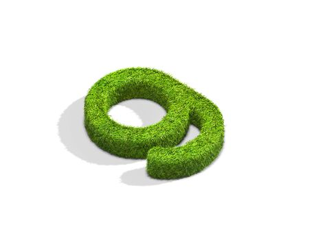 Grass letter G in lowercase format from isometric angle with shadow on ground, flat position. 3D illustration isolated on white background. Stock Photo