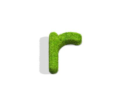 Grass letter R in lowercase format from top angle with shadow on ground. 3D illustration isolated on white background.