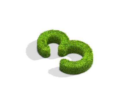 greenery: Grass number 3 from isometric angle with shadow on ground. 3D illustration isolated on white background. Stock Photo