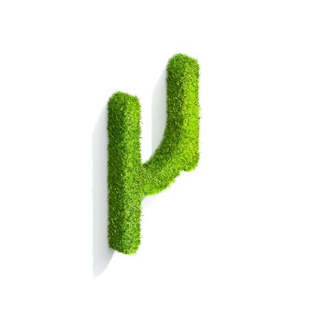 symbol. punctuation: Grass nano punctuation mark from isometric angle with shadow on ground. 3D illustration isolated on white background.