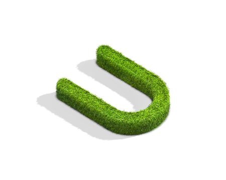 Grass letter U in uppercase format from isometric angle with shadow on ground. 3D illustration isolated on white background.