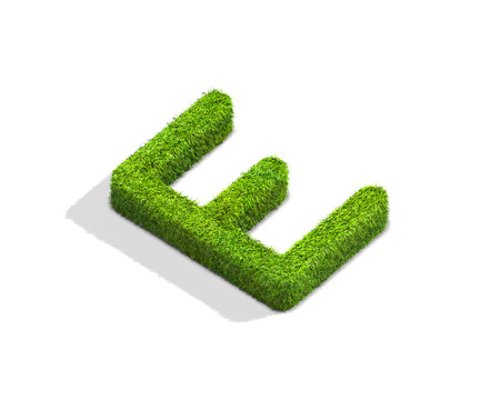 e white: Grass letter E in uppercase format from isometric angle with shadow on ground. 3D illustration isolated on white background.