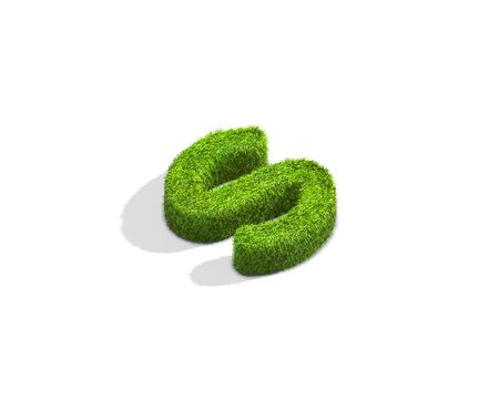 Grass letter S in lowercase format from isometric angle with shadow on ground. 3D illustration isolated on white background.