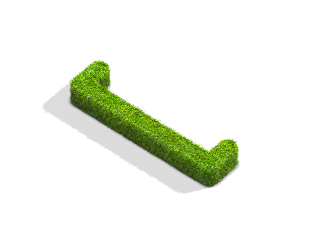 Grass square bracket punctuation mark from isometric angle with shadow on ground. 3D illustration isolated on white background.