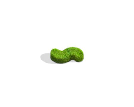 Grass tilde punctuation mark from top angle with shadow on ground. 3D illustration isolated on white background.