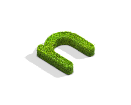 Grass letter N in lowercase format from isometric angle with shadow on ground. 3D illustration isolated on white background.