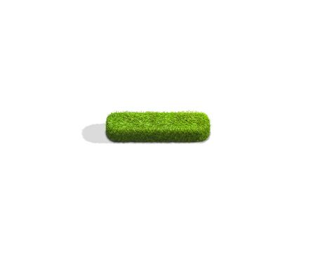 Grass underscore punctuation mark from top angle with shadow on ground. 3D illustration isolated on white background. Stock Photo