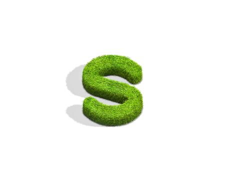 Grass letter S in lowercase format from top angle with shadow on ground. 3D illustration isolated on white background.