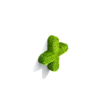 symbol. punctuation: Grass plus punctuation mark from isometric angle with shadow on ground. 3D illustration isolated on white background.