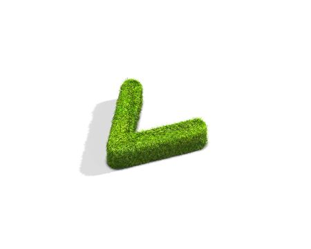 Grass smaller than punctuation mark from isometric angle with shadow on ground. 3D illustration isolated on white background.