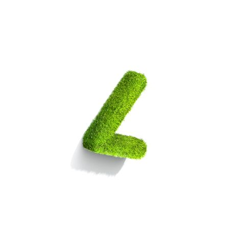 smaller: Grass smaller than punctuation mark from isometric angle with shadow on ground. 3D illustration isolated on white background.